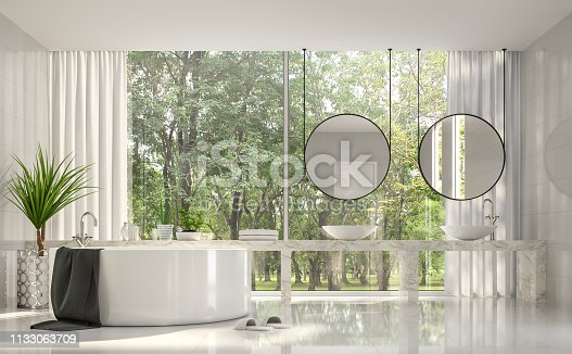 istock Modern luxury white bathroom with nature view 3d render 1133063709