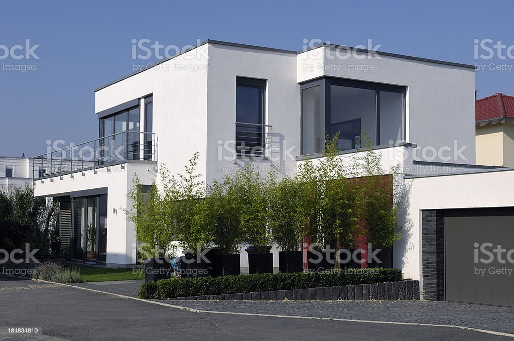 Modern luxury white house stock photo