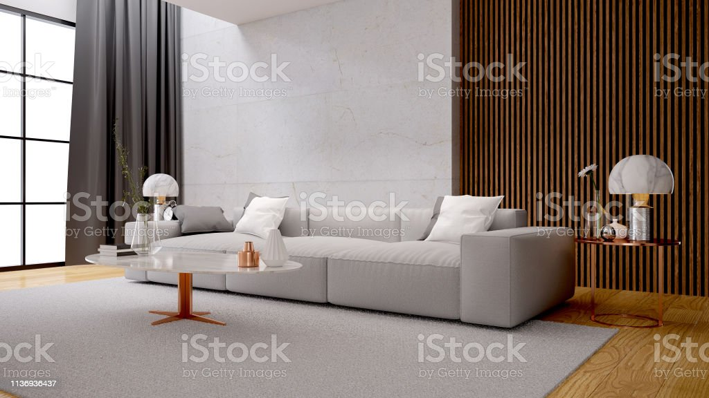 Modern Luxury White Living Room Interior Design White Sofa With Marble Wall 3d Rendering Stock Photo Download Image Now Istock