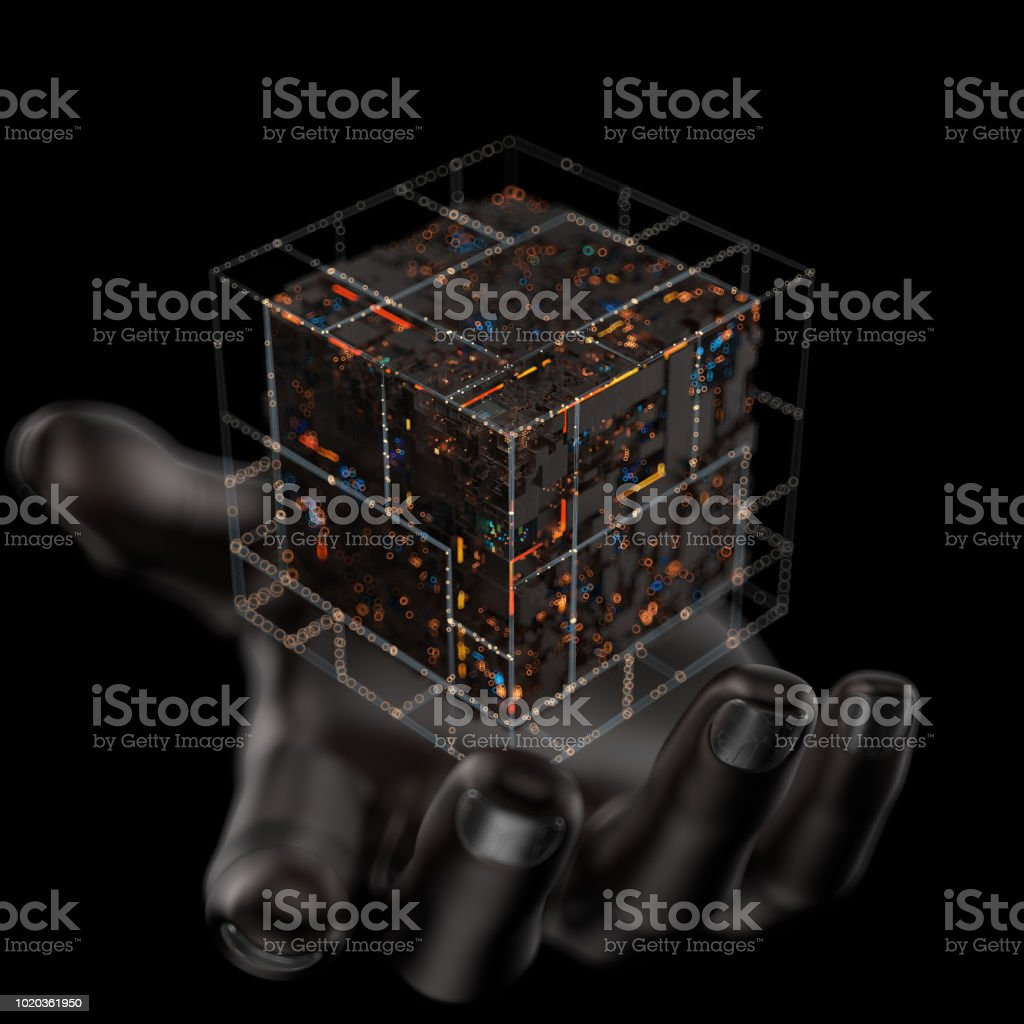 Modern machine design cube on the metal hand,the concept of core data blocks,3d rendering. stock photo