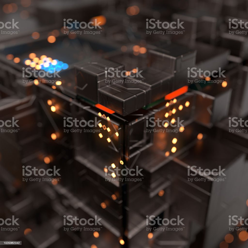 Modern machine design cube,the concept of core data blocks,3d rendering. stock photo