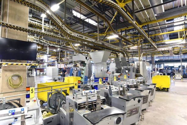 modern machines for transportation in a large print shop for production of newspapers & magazines stock photo