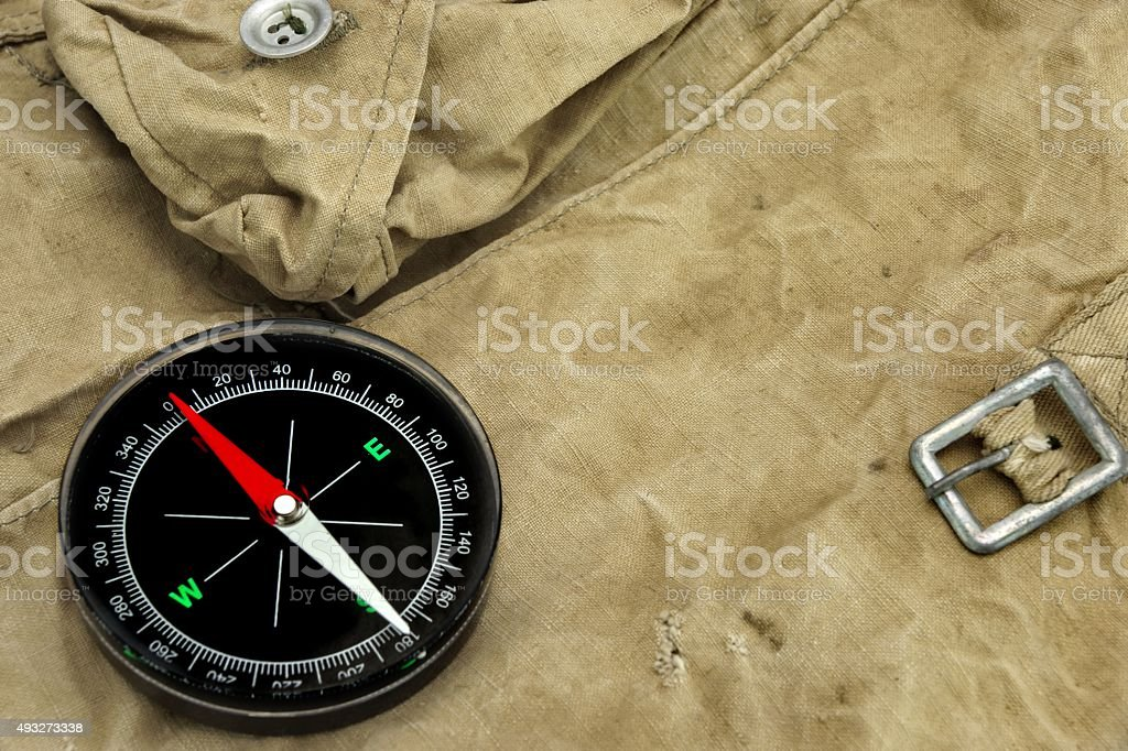 Modern Magnetic Compass On The Weathered Backpack stock photo