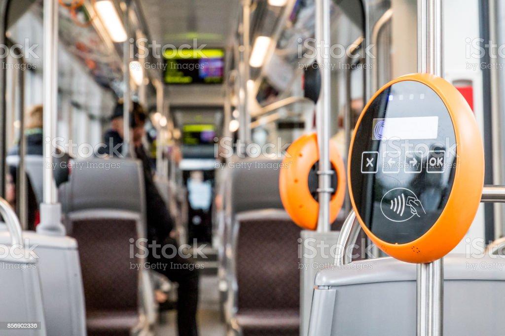Modern magnetic ticket validator in public transport stock photo