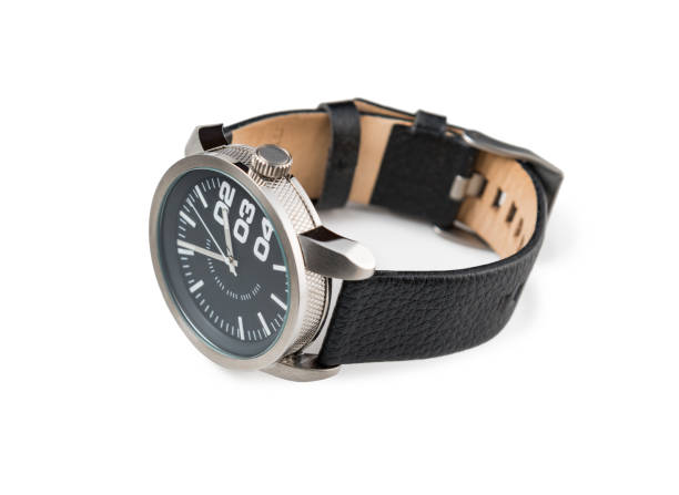 Modern male watch with black leather bracelet isolated stock photo