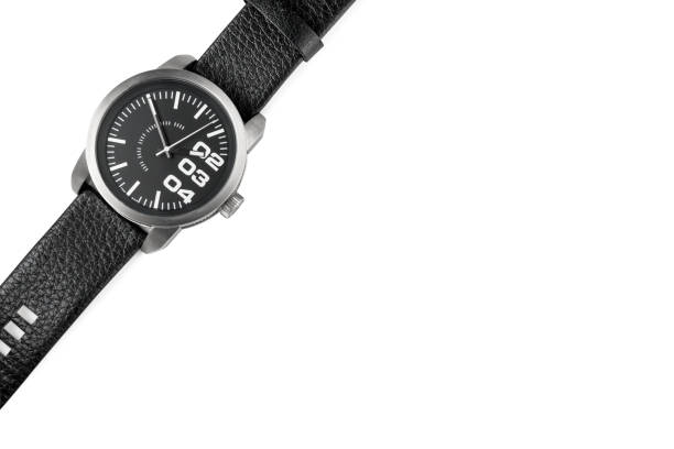 Modern male watch with leather bracelet isolated stock photo