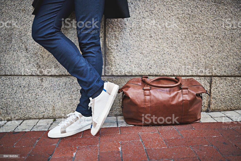 Modern man - go bag or go home stock photo