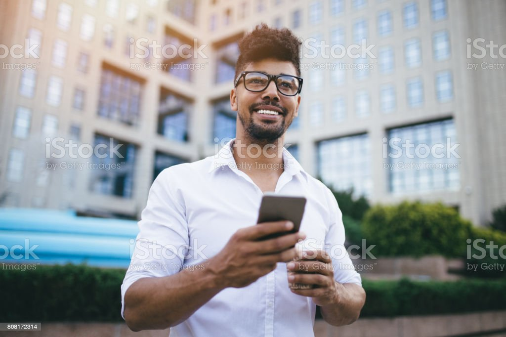 Modern man on the street stock photo