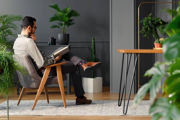 現代人のトレンディなインテリア植物や灰色肘掛け椅子に座りながら本を読んで - 優雅 ストックフォトと画像