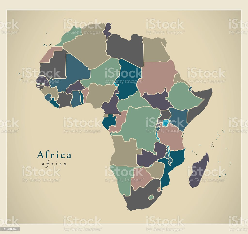 Modern Map Africa Continent With Countries Political Colored ...