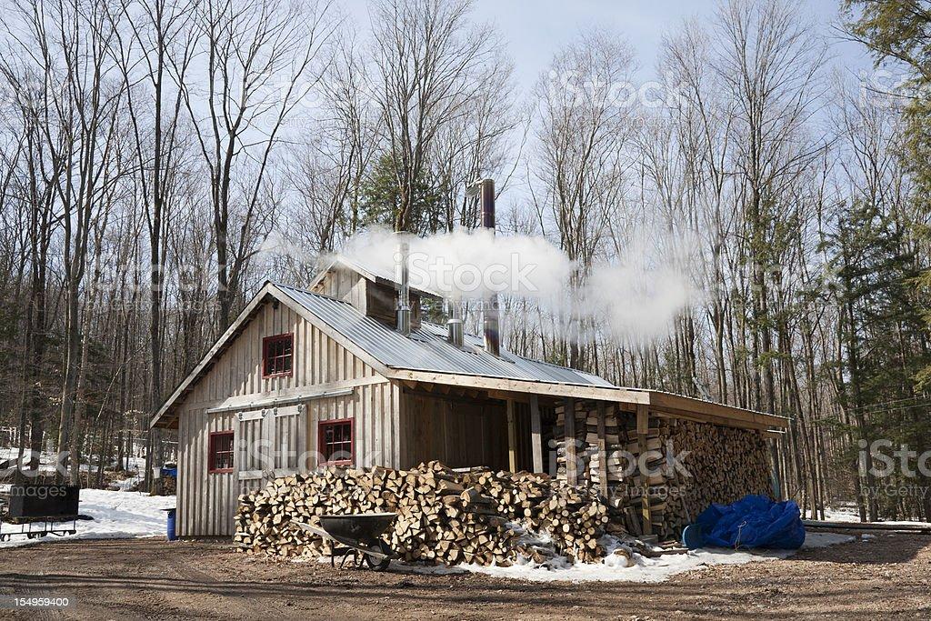 Modern Maple Sugar Shack stock photo