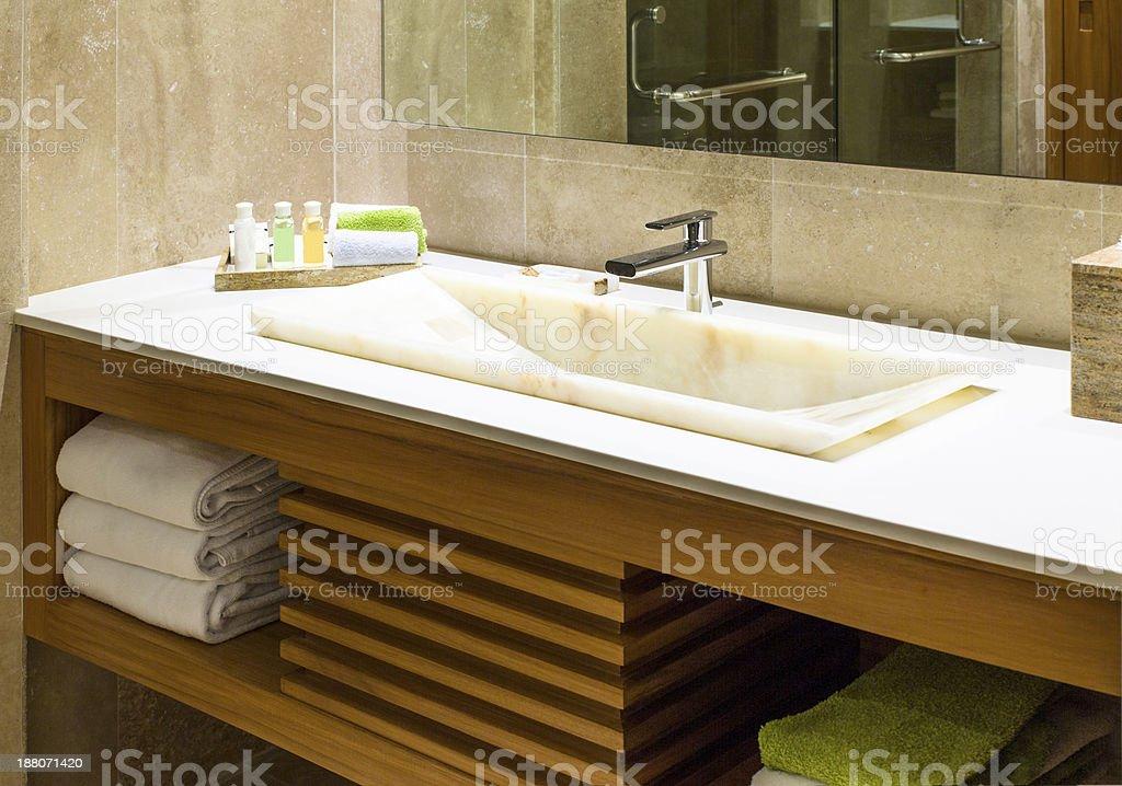 Modern marble wash hand basin stock photo