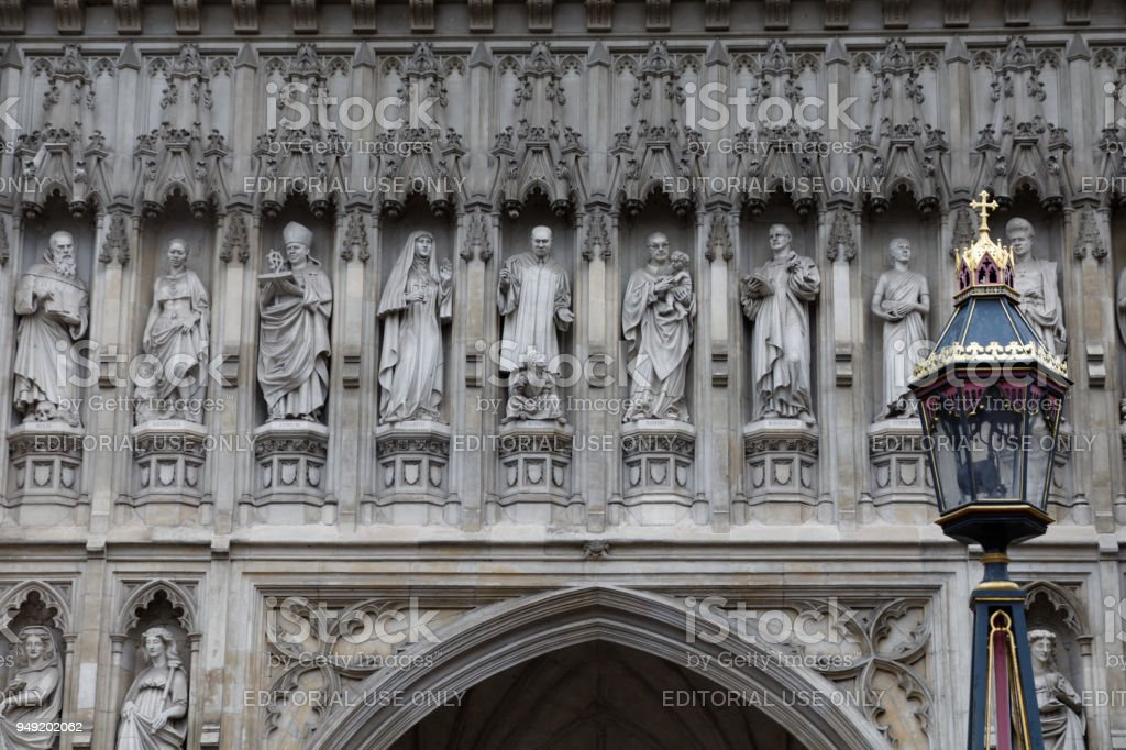 Modern martyrs on Westminster Abbey stock photo