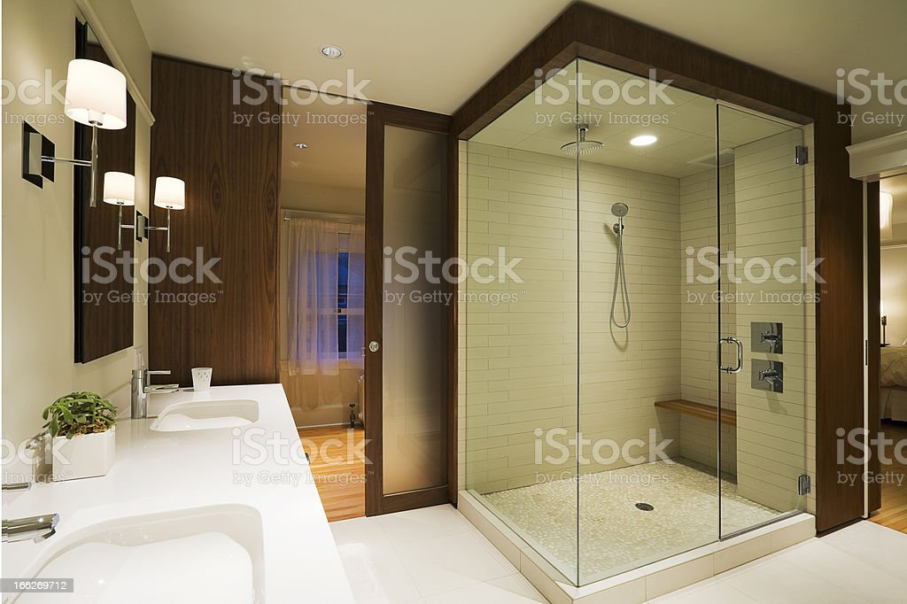Modern Master Bathroom stock photo