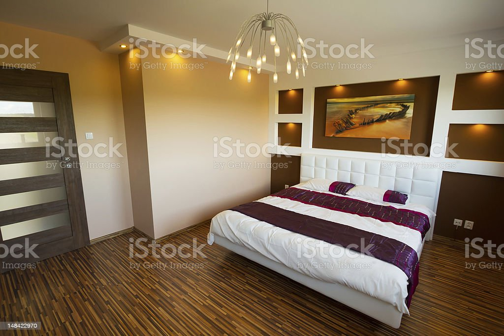 Modern master bedroom interior stock photo