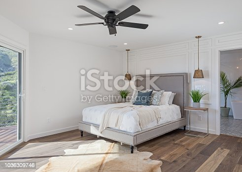 Photo of a modern looking master bedroom.