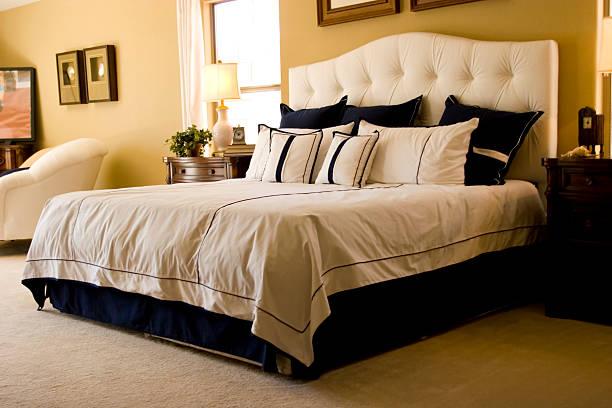 Modern master bedroom stock photo
