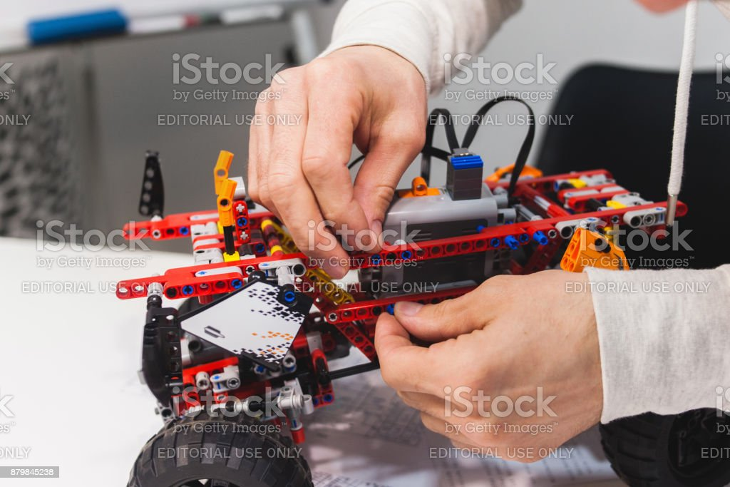 Modern mechatronics robotic construstor creation stock photo