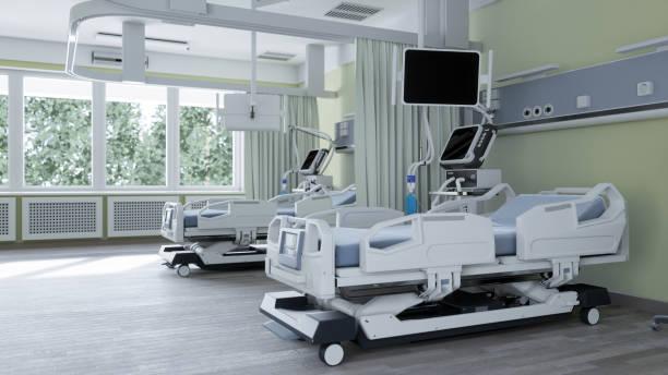 modern medisch bed en beademing - ventilator bed stockfoto's en -beelden