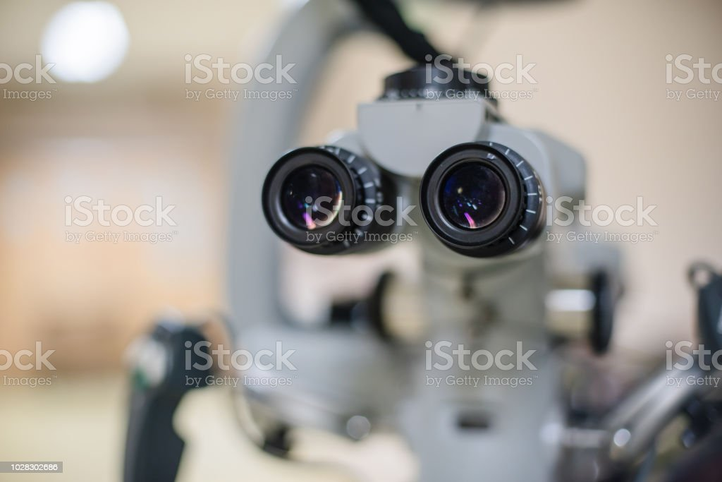 Modern medical equipment for ophthalmology operation surgical microscope in hospital. stock photo