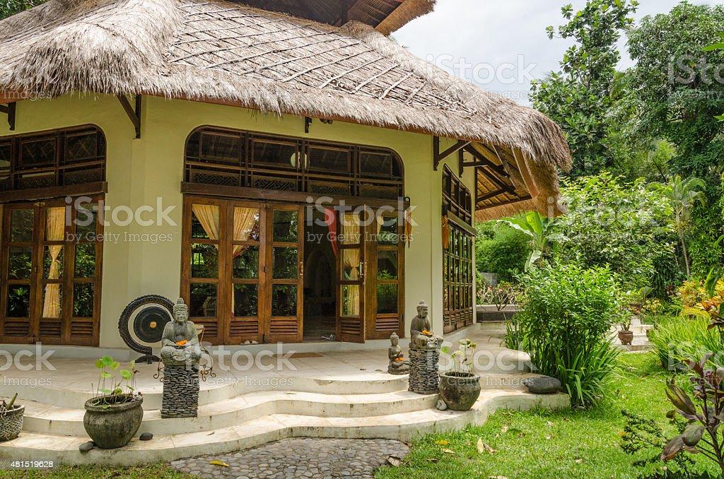 modern meditation room in a resort in Bali stock photo