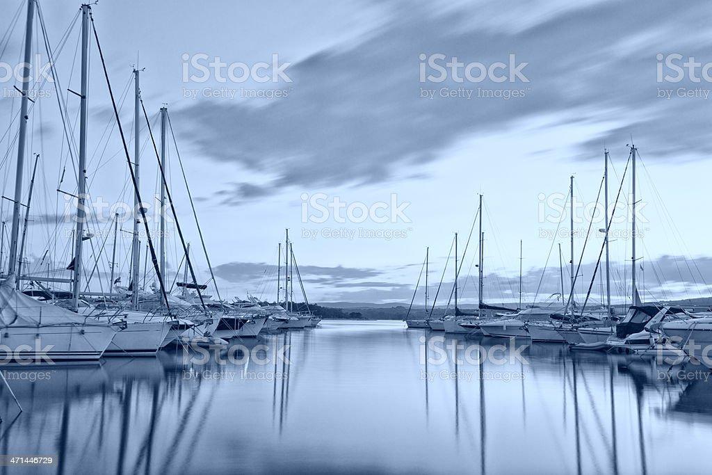 modern mediterranean marina at evening royalty-free stock photo