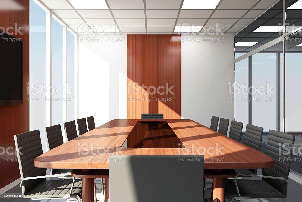 Sala riunioni moderno 3d interni con grandi finestre for Sala riunioni