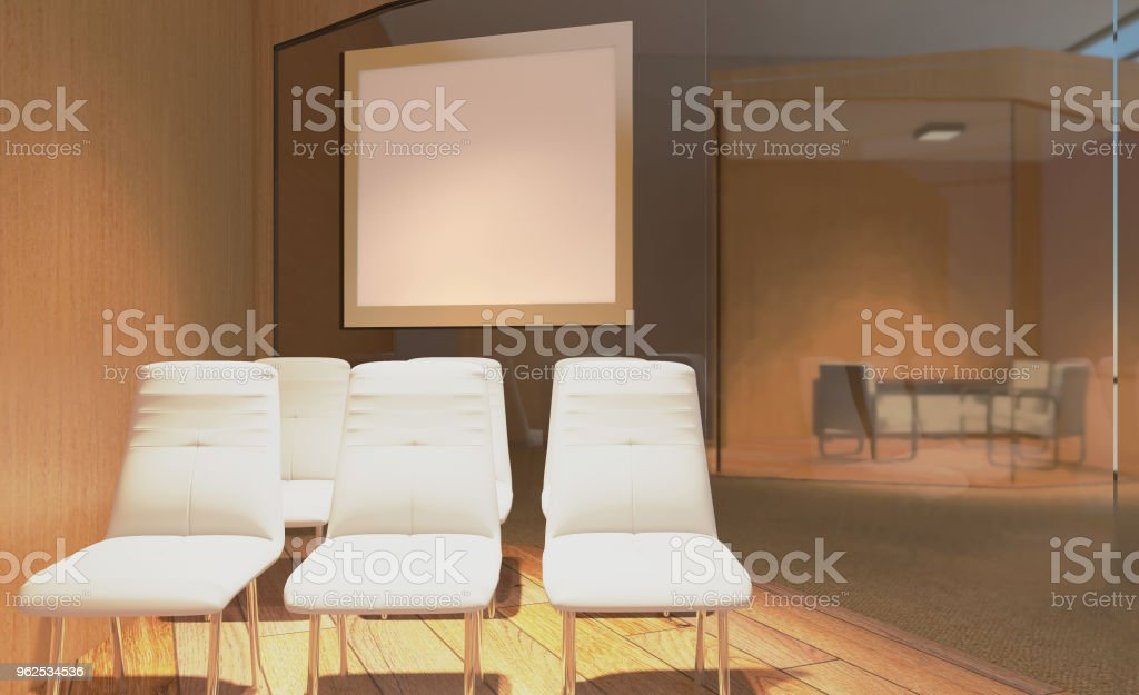 Sala de reuniões moderna. Renderização em 3D... Pinturas em branco.  Maquete. - Foto de stock de Arte royalty-free