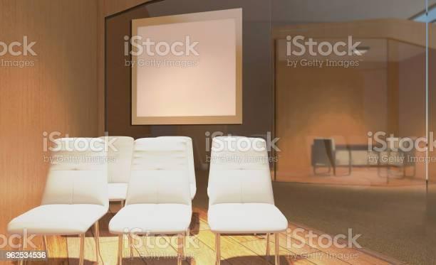 Foto de Sala De Reuniões Moderna Renderização Em 3d Pinturas Em Branco Maquete e mais fotos de stock de Arte