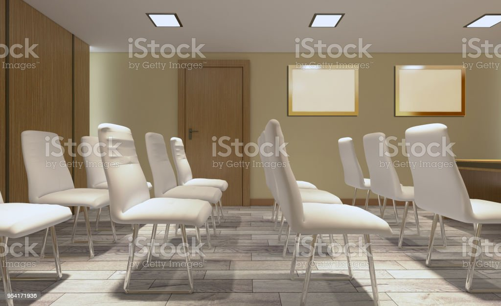 Modern meeting room. 3D rendering.. Blank paintings stock photo