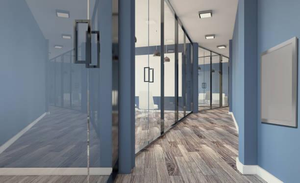 Sala de reuniões moderna. Renderização em 3D... Pinturas em branco - foto de acervo
