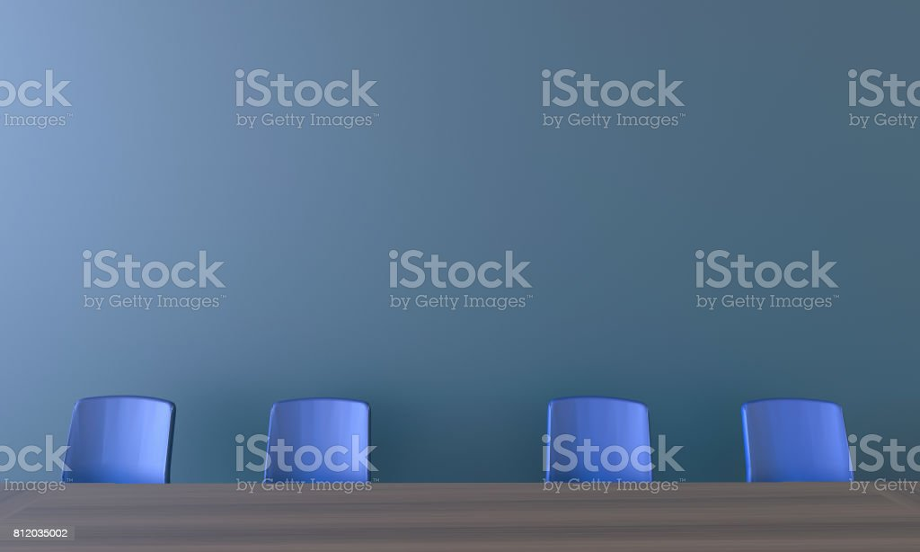 Modern Meeting room and Blue chair on wall Display stock photo
