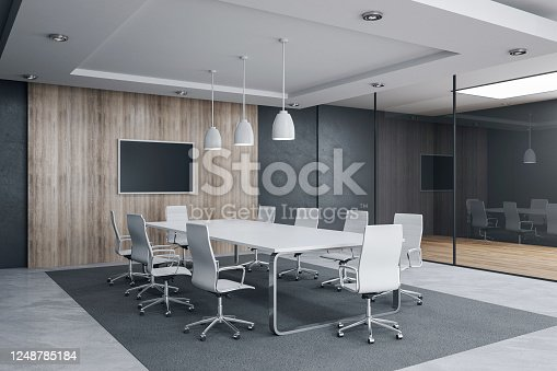 Modern meeting room interior with empty tv screen and sunlight. Workplace and company concept. 3D Rendering