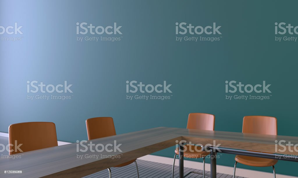 Modern Meeting room Office on Green wall stock photo