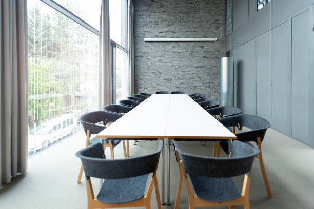 modern meeting room modern office meeting room empty desk stock pictures, royalty-free photos & images