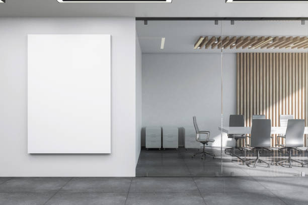 Modern meeting room with banner stock photo
