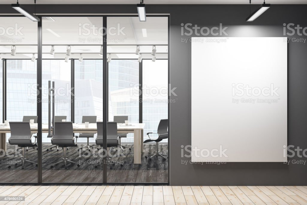 Modern meeting room with blank banner stock photo