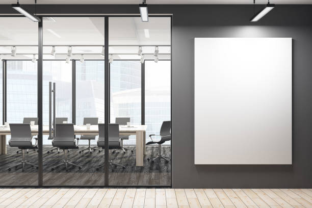 modern meeting room with blank banner - poster stock pictures, royalty-free photos & images
