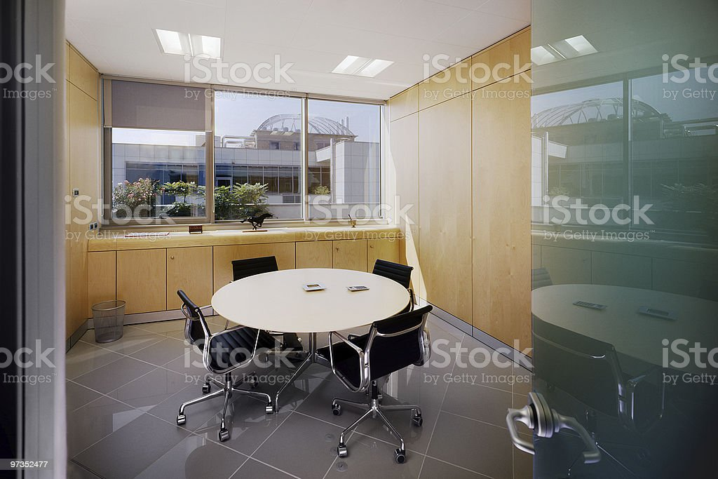 Modern Meeting Room With Round Table And Four Chairs Stock Photo Download Image Now Istock