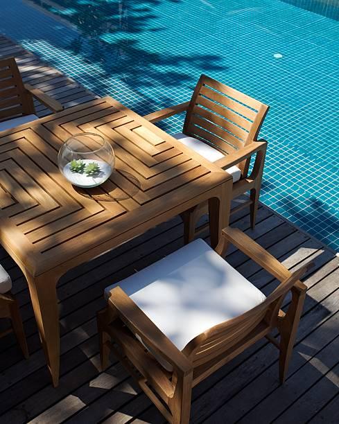 moderne und traditionelle einrichtung am pool - terrassen deck design stock-fotos und bilder