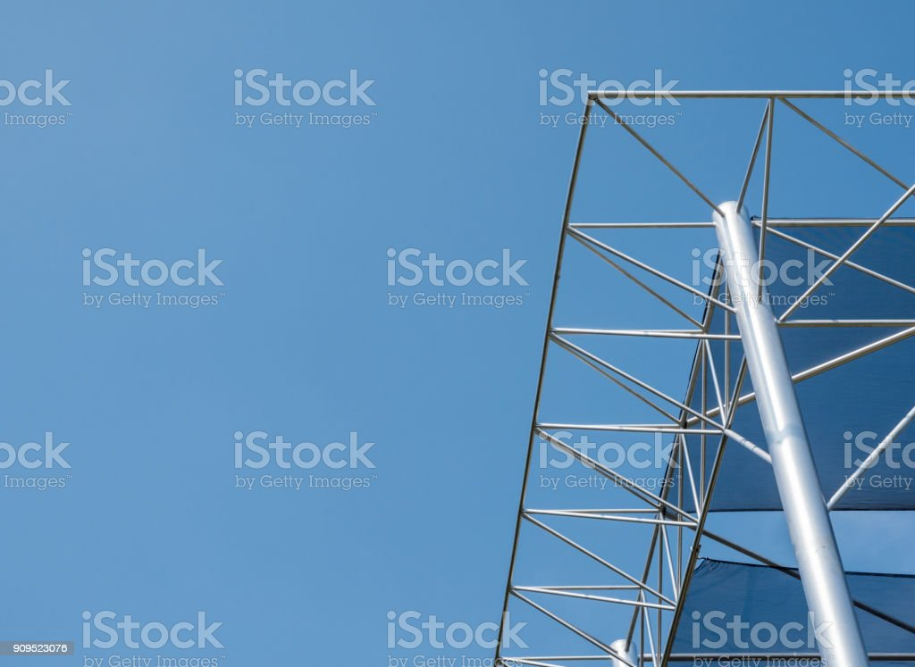 Modern metal frame with the canopy canvas. stock photo