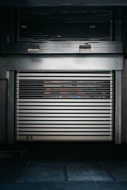 Modern metal garage door stock photo