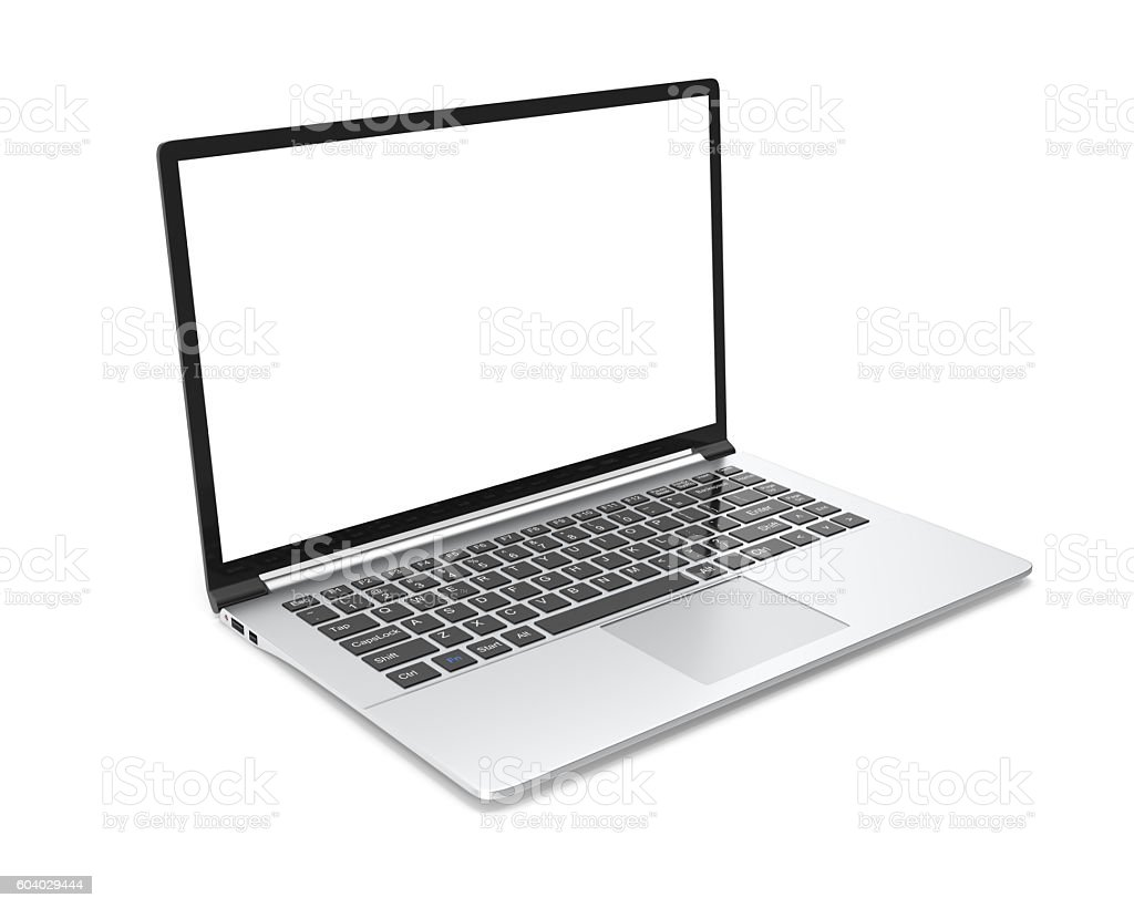 Modern metal office laptop or silver business notebook with blank stock photo