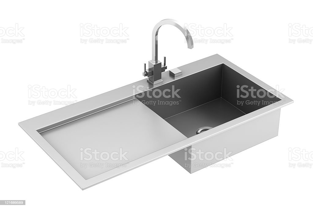 modern metal sink isolated on white background stock photo