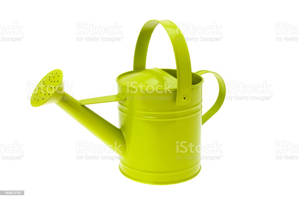 Modern metal watering can stock photo