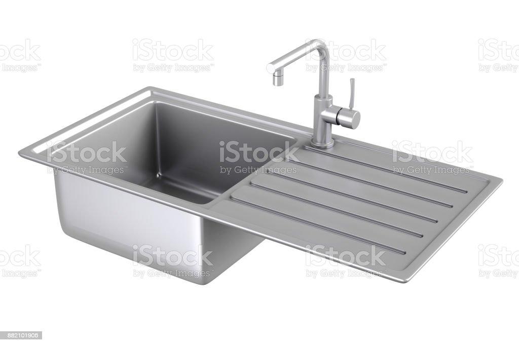 Moderne Metallische Küchenspüle Mit Edelstahl Wasserhahn ...