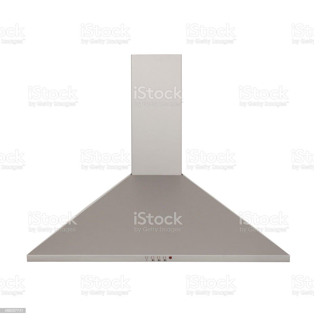 modern metallic cooker hood isolated on white background stock photo