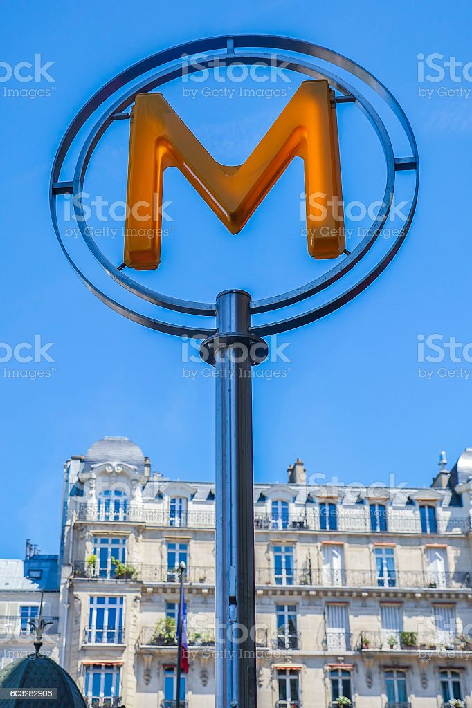 Modern metro station sign. Subway train entrance. stock photo