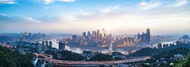 Moderne Metropole Skyline, Chongqing, China, Chongqing Panorama. – Foto