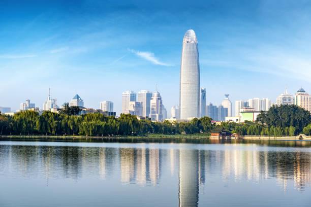 Modern metropolis skyline, jinan, China, jinan panorama stock photo